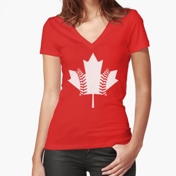 Maple Leaf Baseball (White) Fitted V-Neck T-Shirt
