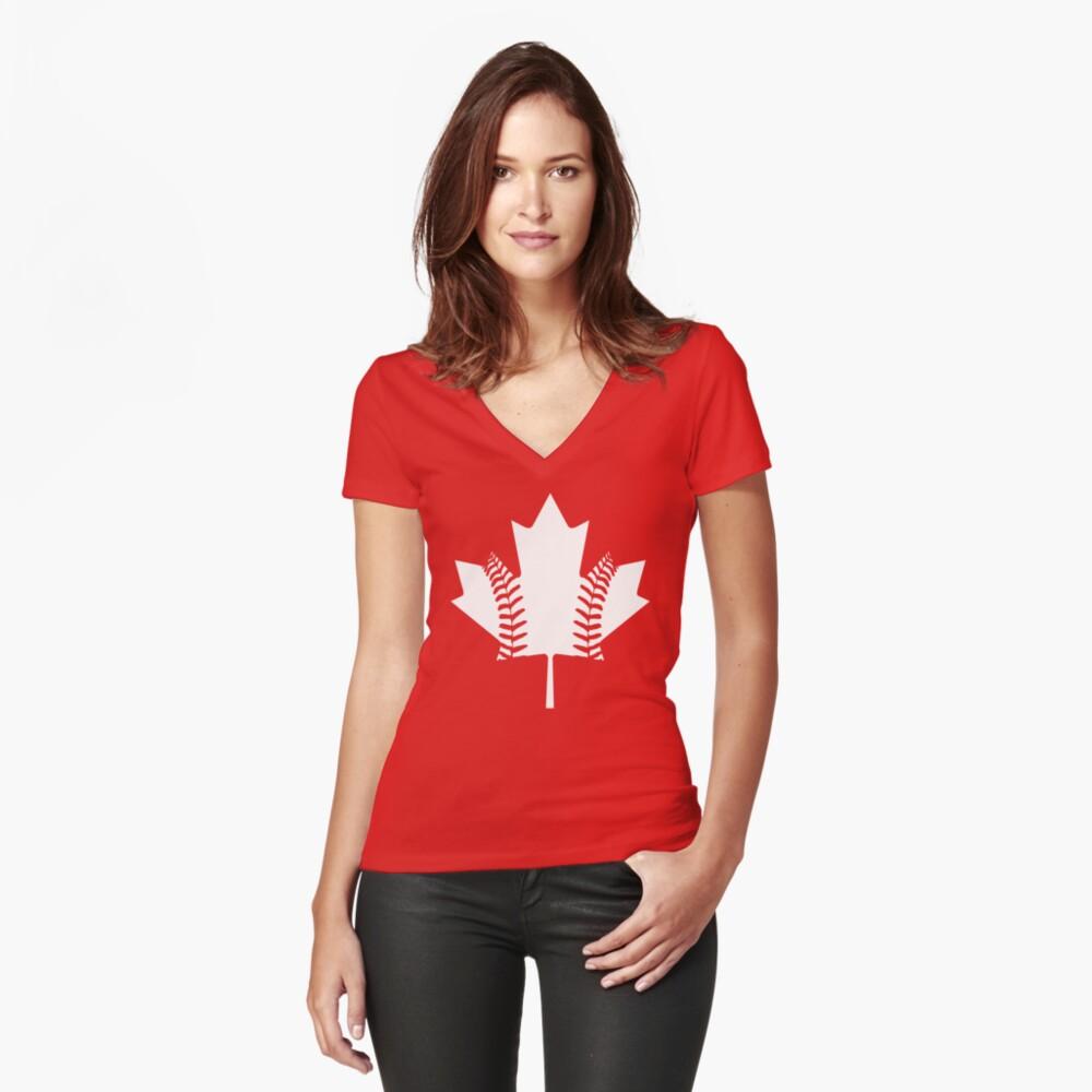 Maple Leaf Baseball (White) Women's Fitted V-Neck T-Shirt Front