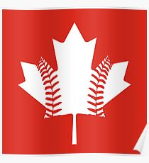 Maple Leaf Baseball (White) Poster