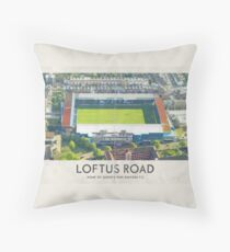 Vintage Football Grounds - Loftus Road (Queens Park Rangers FC) Throw Pillow