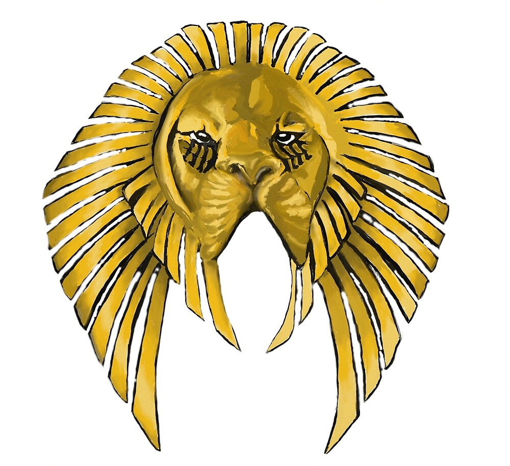 Gold African Lion Mask by unityheroes
