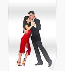 Couple dances tango On white Background Poster