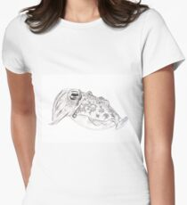 Red cuttlefish ink drawing - Sepia mestus Women's Fitted T-Shirt