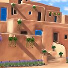 Taos Pueblo with Flowers by Walter Colvin