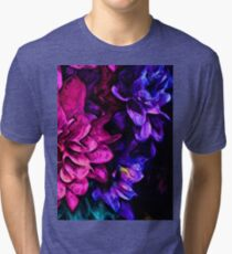 Pink Flower with Purple Flowers Tri-blend T-Shirt