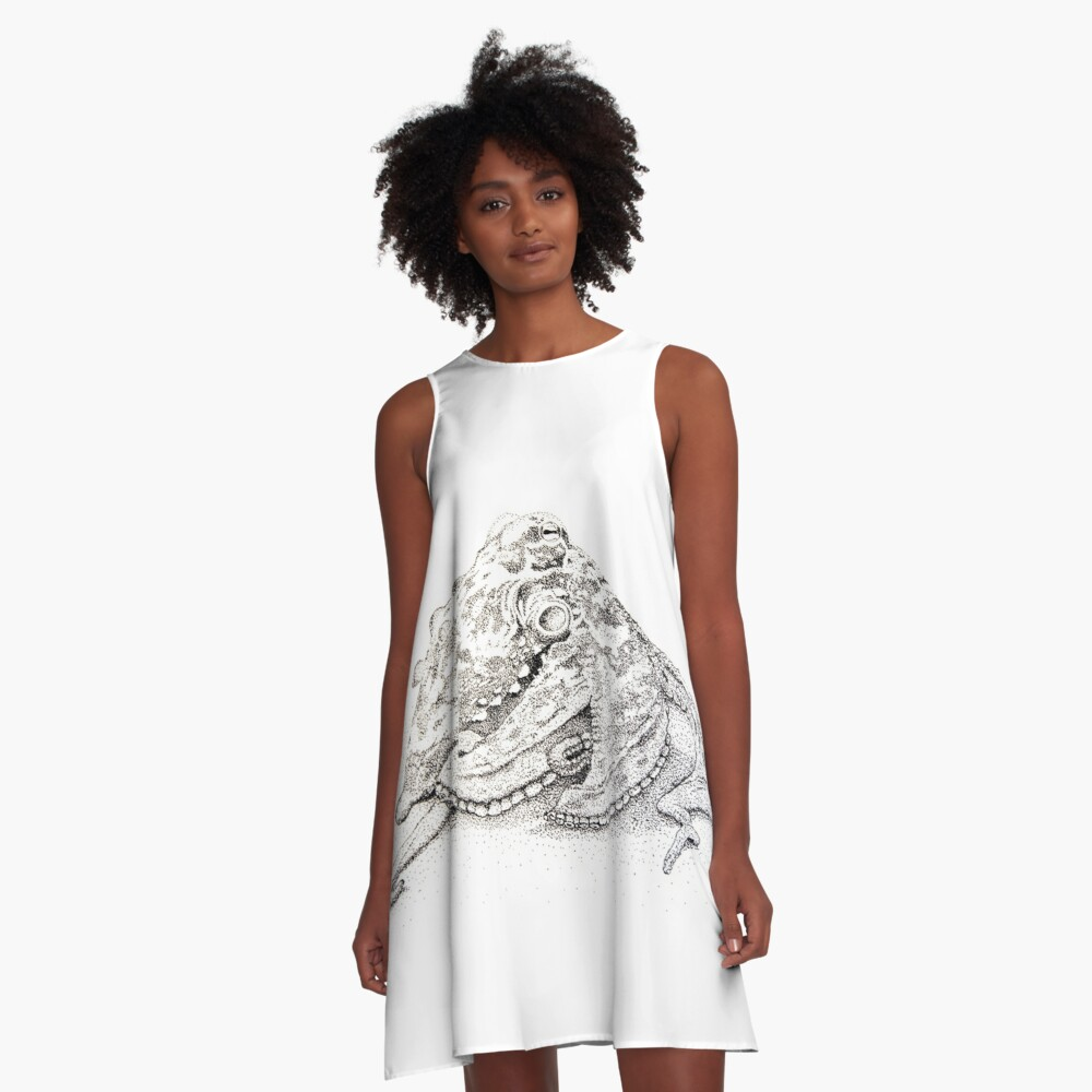 Sydney octopus ink drawing - Octopus tetricus A-Line Dress Front
