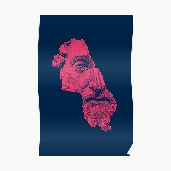 MARCUS AURELIUS ANTONINUS AUGUSTUS / prussian blue / vivid red Poster