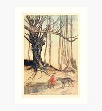 Hansel & Grethel & Other Tales by Grimm Wilelm and Jacob art by Arthur Rackham 0165 Red Riding Hood and the Wolf in the Wood Art Print