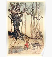 Hansel & Grethel & Other Tales by Grimm Wilelm and Jacob art by Arthur Rackham 0165 Red Riding Hood and the Wolf in the Wood Poster