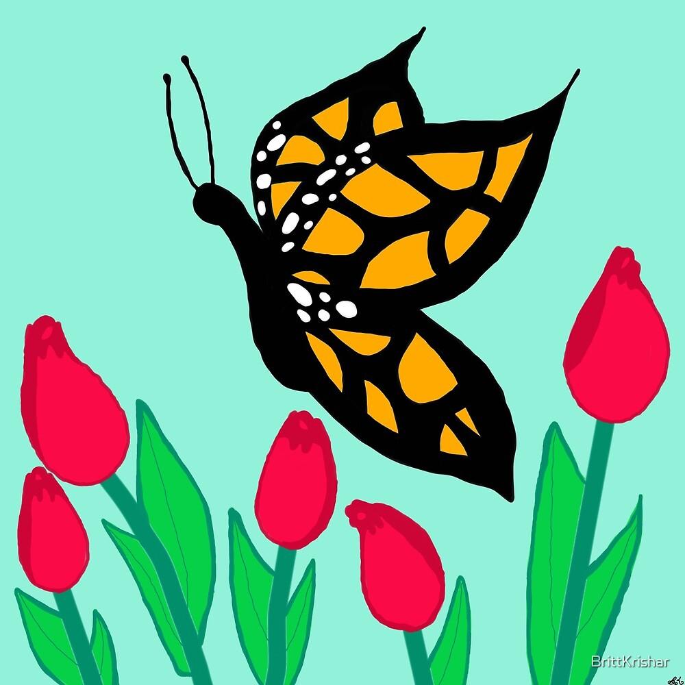 Butterfly in a field of Tulips by BrittKrishar