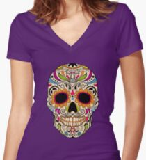 Mexican color skull Women's Fitted V-Neck T-Shirt