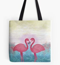 Flamingo Couple under Sunset Tote Bag