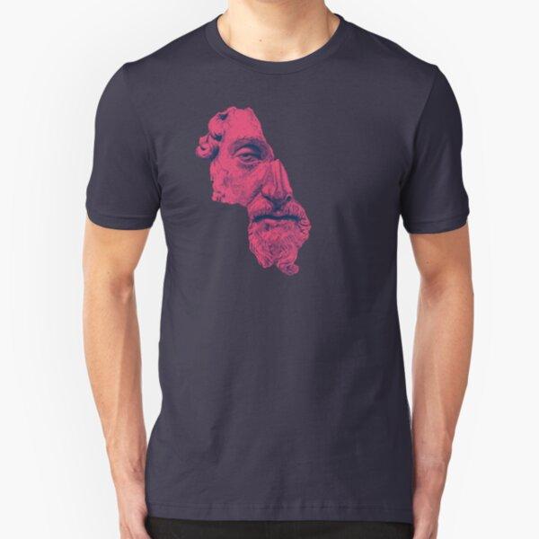 MARCUS AURELIUS ANTONINUS AUGUSTUS / prussian blue / vivid red Slim Fit T-Shirt