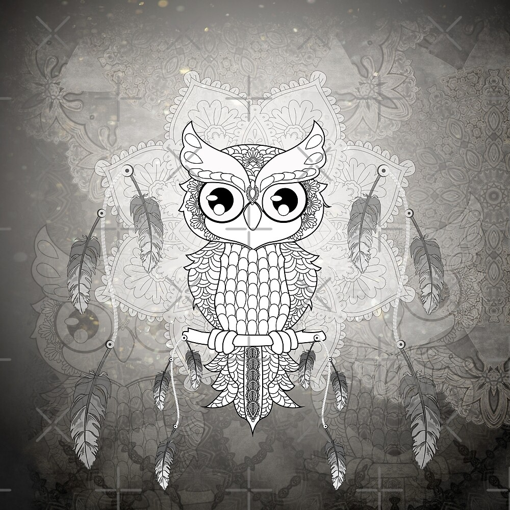 Cute owl in black and white by nicky2342