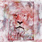 Watercolor Lion Vintage Africa Illustration by artsandsoul