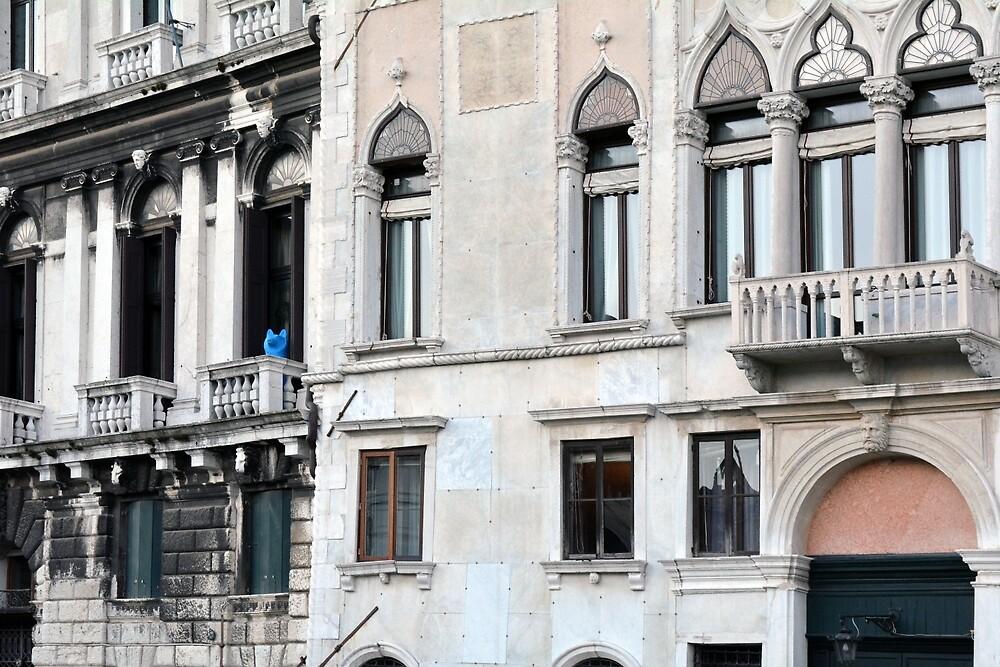 Classical Italian building facade with decorative motives around the windows by oanaunciuleanu