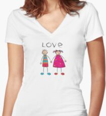 Boy + Girl = Love Women's Fitted V-Neck T-Shirt