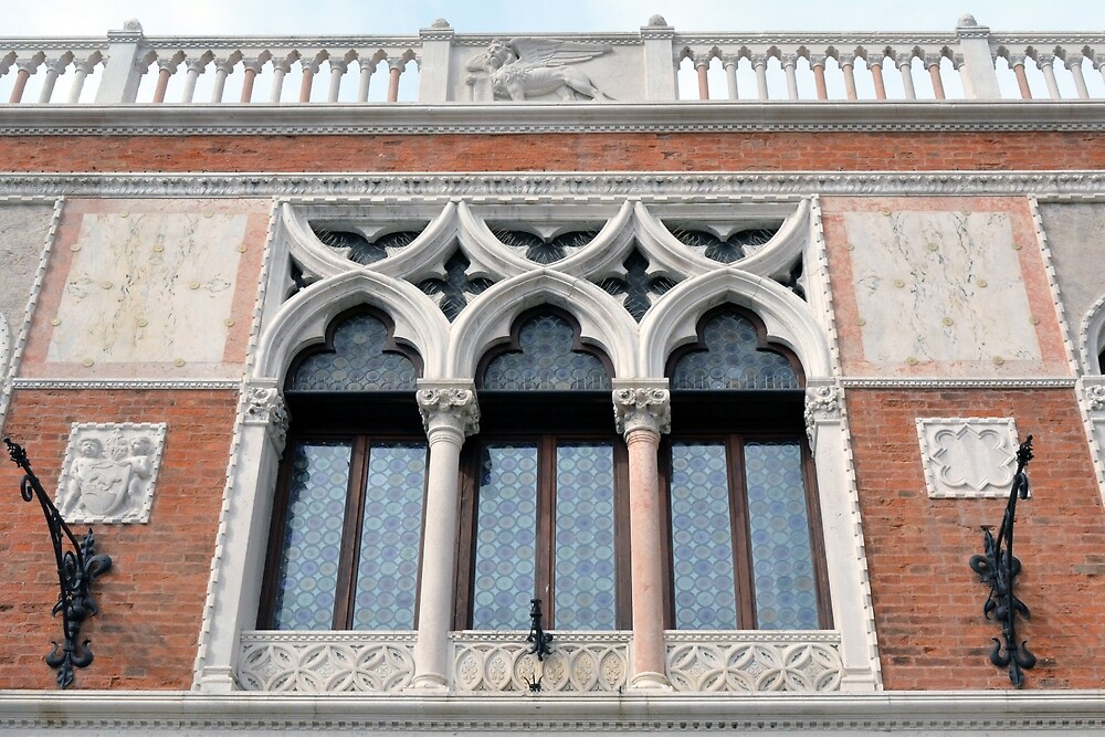 Building facade from Venice with arched windows and columns by oanaunciuleanu