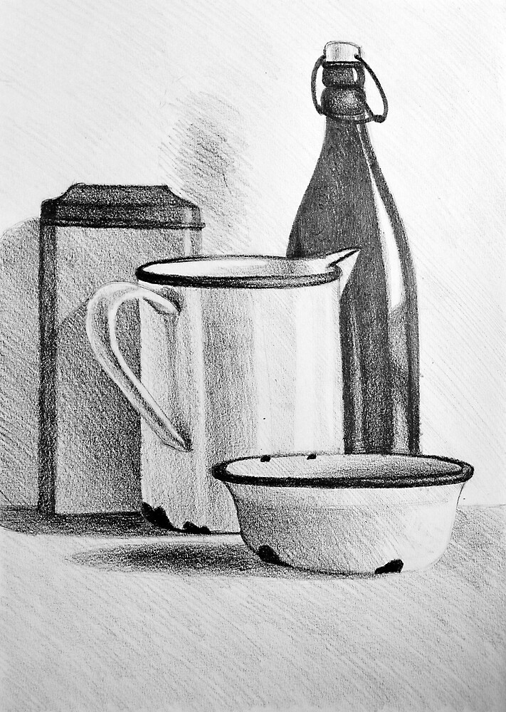 Still life drawing with kitchen items by oanaunciuleanu