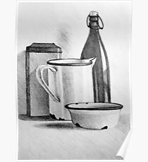 Still life drawing with kitchen items Poster
