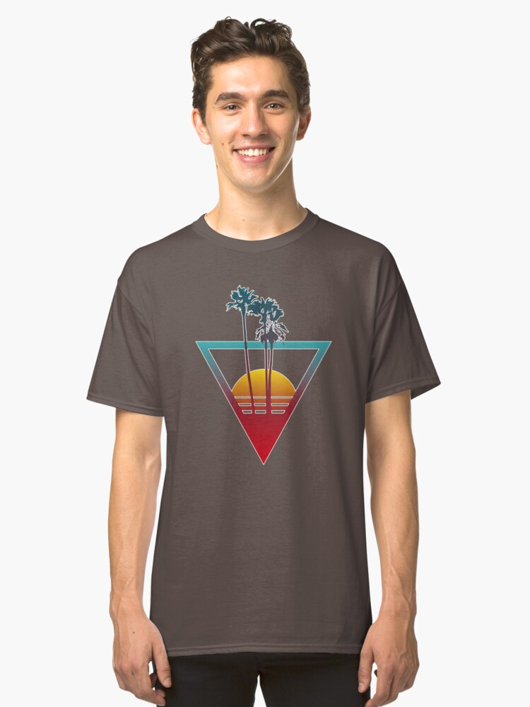 Synthwave Summer Sunset Classic T-Shirt Front