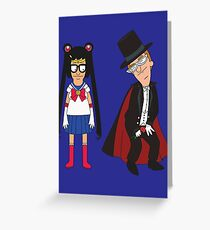 Tina Moon and Buttexdo Mask Greeting Card