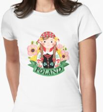 Polish Girl And Corn Poppy Womens Fitted T-Shirt