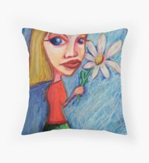 Girl with flower Throw Pillow