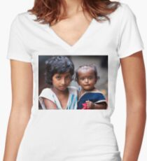 Little Girl With Baby Sister Women's Fitted V-Neck T-Shirt
