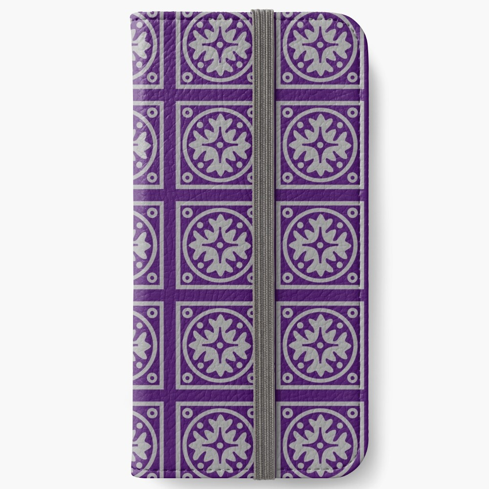 Floral Tile Purple and Grey Repeat Seamless Pattern iPhone Wallet