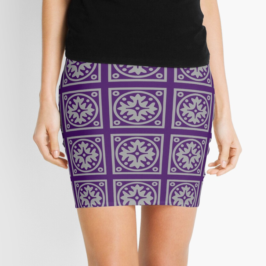 Floral Tile Purple and Grey Repeat Seamless Pattern Mini Skirt