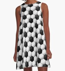 Seamless soccer pattern. Geometric black and white background A-Line Dress