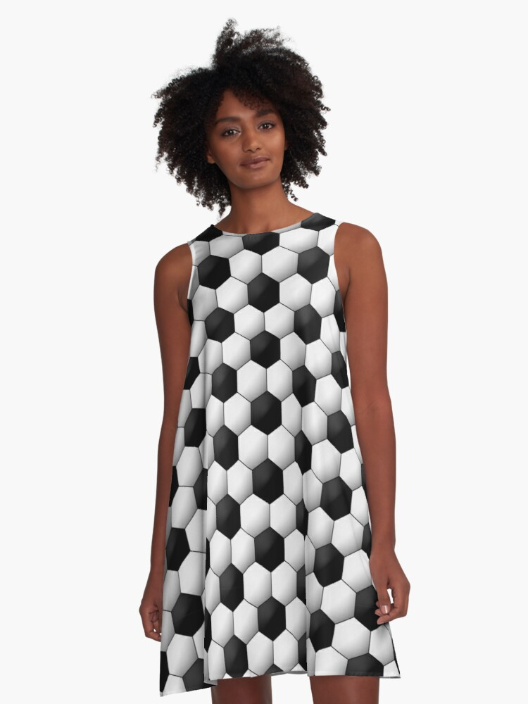 Seamless soccer pattern. Geometric black and white background A-Line Dress Front