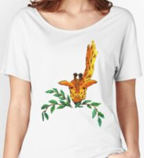 Embroidered giraffe with leaves Women's Relaxed Fit T-Shirt