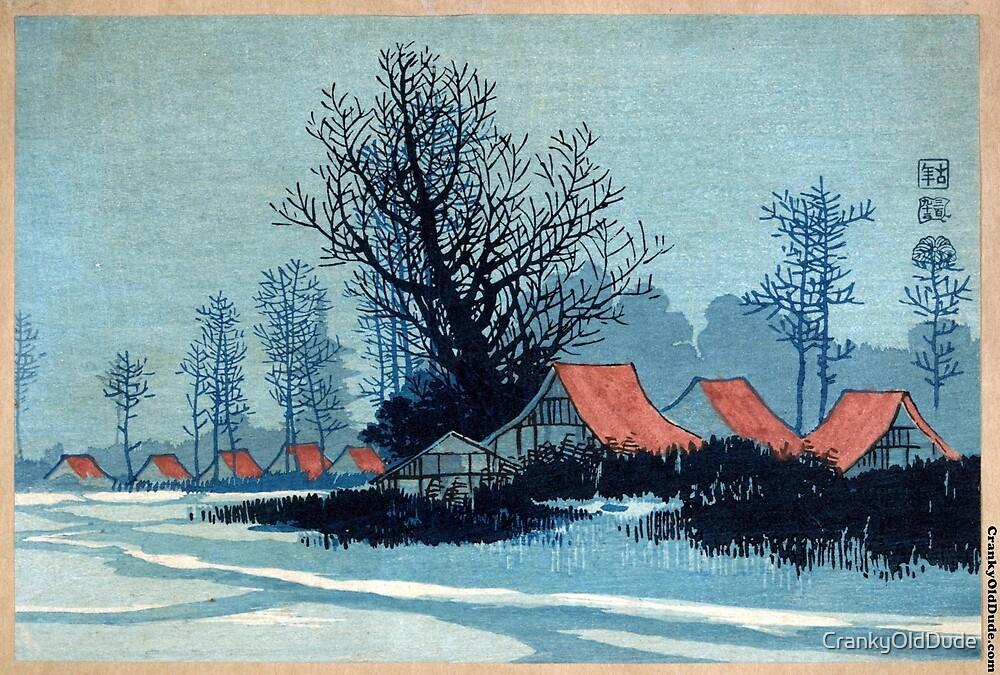 Red Roofs - Konen Uehara - 1900 - woodcut by CrankyOldDude
