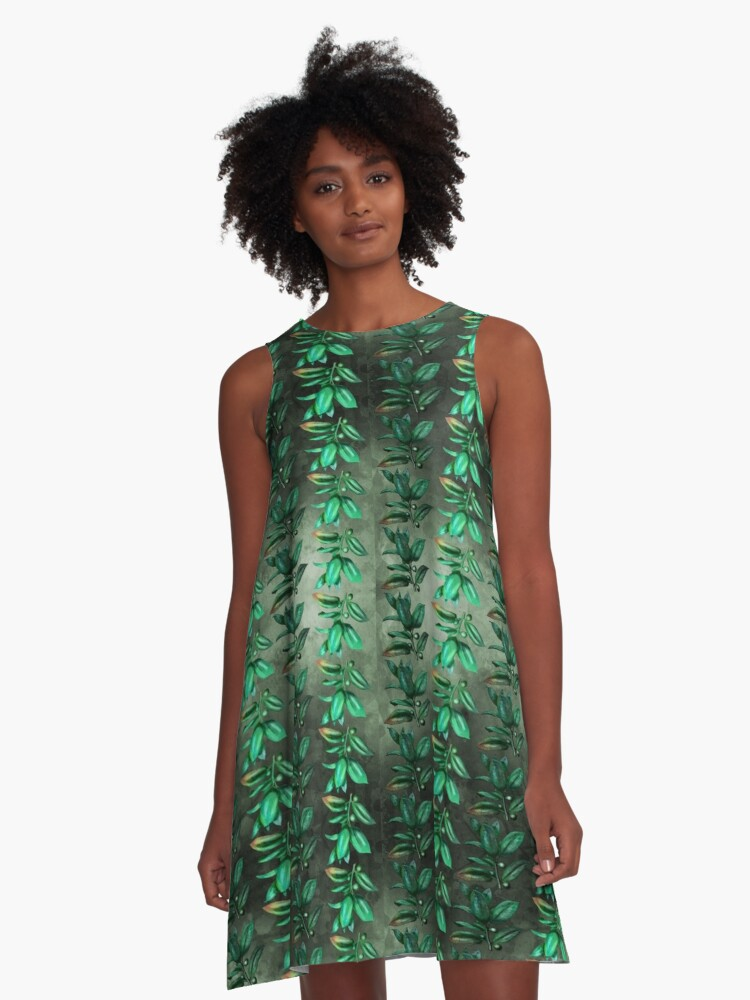 Vintage leaves patterned on watercolour background A-Line Dress Front