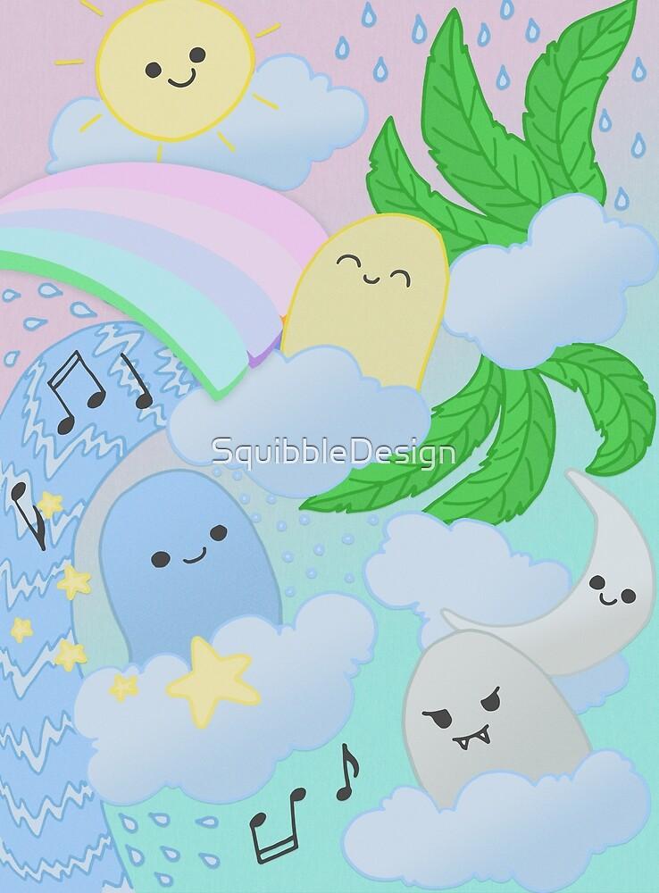 Kawaii Pastel Doodle Monsters by SquibbleDesign