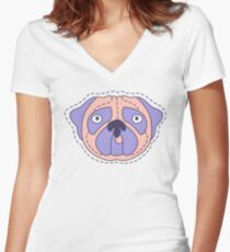 Pug Face Women's Fitted V-Neck T-Shirt