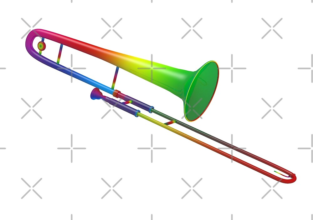 Rainbow Colored Trombone by Mythos57