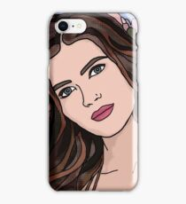 Brunette Girl Portrait with Spring Flowers on Blue  iPhone Case/Skin
