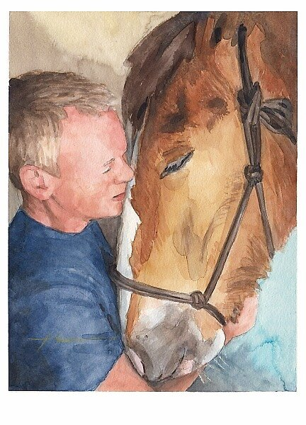 man & horse watercolor by Mike Theuer