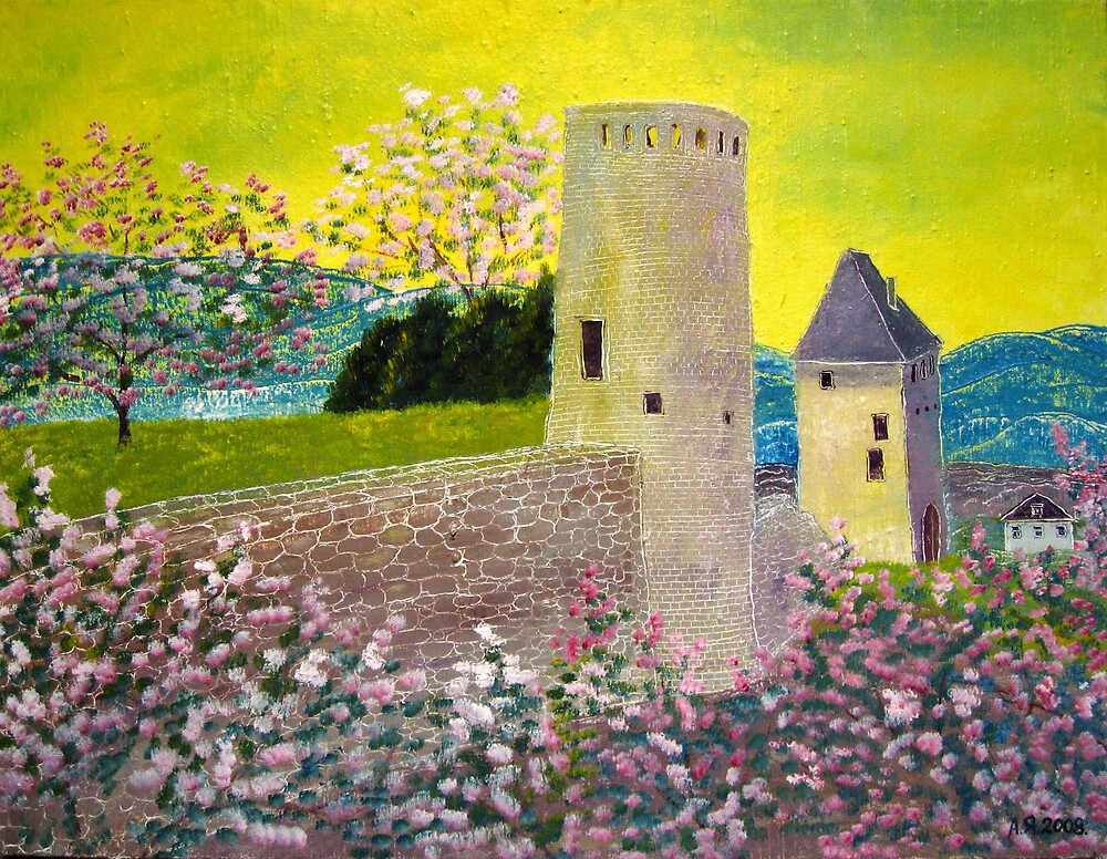 Landscape with fortress Tower by Alexey Yarygin