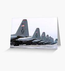 C-130 Hercules on the flightline at Yokota Air Base, Japan. Greeting Card