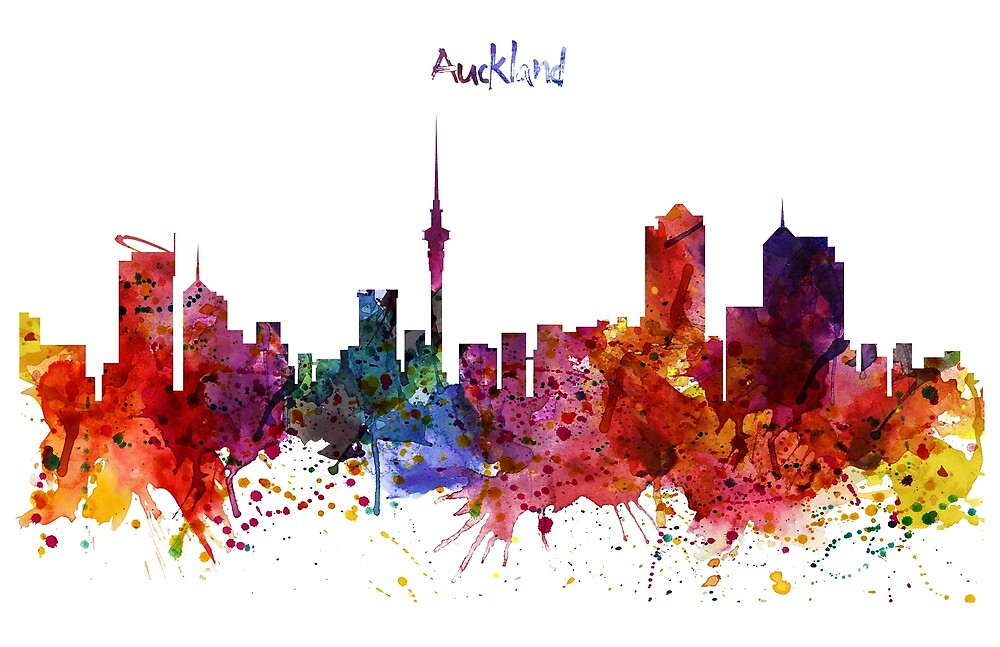 Auckland Watercolor Skyline by Marian  Voicu