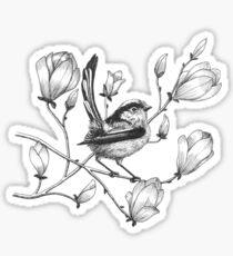 long tailed tit on magnolia tree Sticker