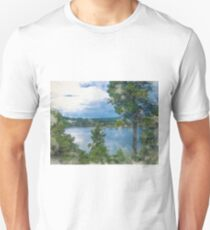 Before the Storm at the Lake in Watercolor T-Shirt