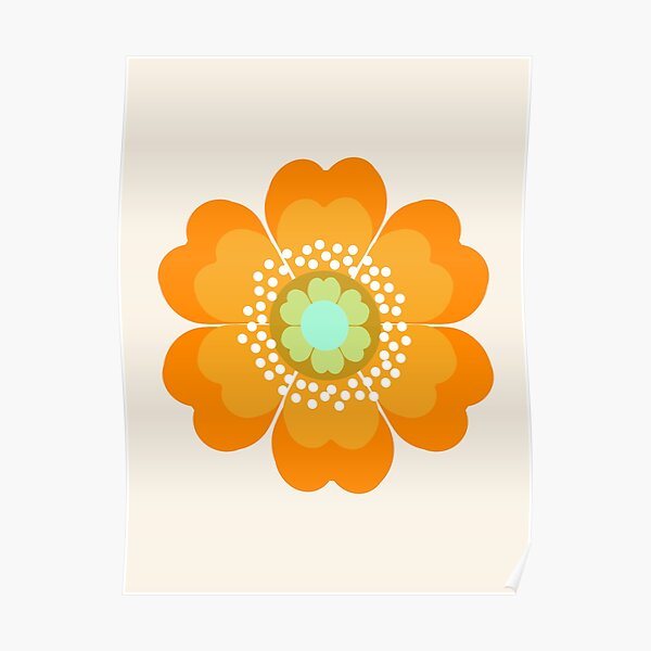 Jivin' - 70's retro throwback art floral flower motif decor hipster by Seventy Eight Poster