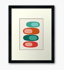 Ya Dig - abstract retro minimal dots 70s 1970s style pattern art 70's 1970's by Seventy Eight Framed Print
