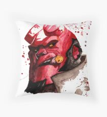 Hellboy Watercolor Design Comic Fanart Throw Pillow