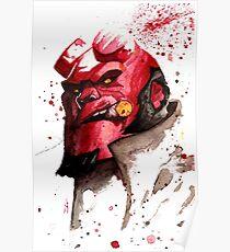 Hellboy Watercolor Design Comic Fanart Poster